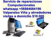 Reparaciones de computadores a Domicilio visitas$10.000 Viña Valpo